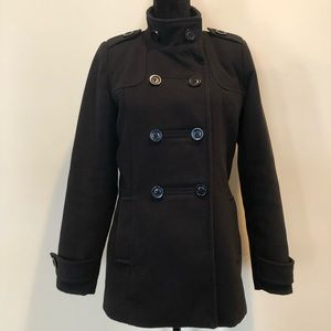 Retimans winter pea coat button front closure